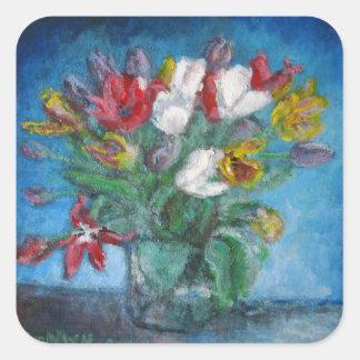La tulipe fleurit le vase à bouquet floral sticker carré