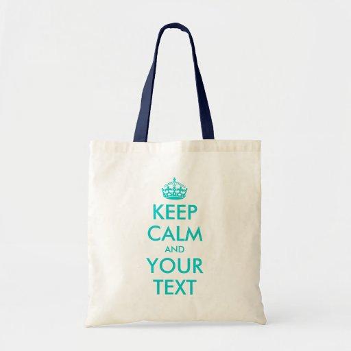 La turquoise gardent le texte personnalisable calm sacs fourre-tout