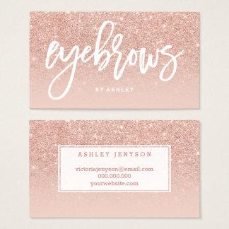 La typographie élégante de sourcils rougissent or cartes de visite