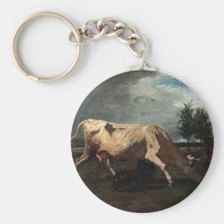 La vache a chassé par un chien par Troyon constant Porte-clé Rond