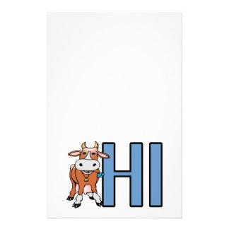 La vache indique salut papiers à lettres