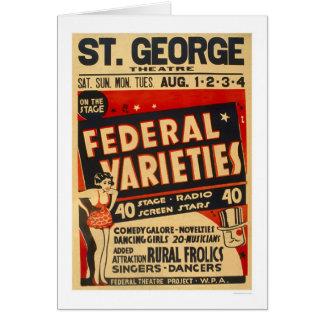 La variété fédérale agit WPA 1937 Carte De Vœux