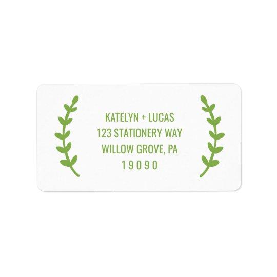 La verdure chic tressent le mariage étiquette d'adresse