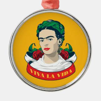 La Vida de vivats de Frida Kahlo | Ornement Rond Argenté