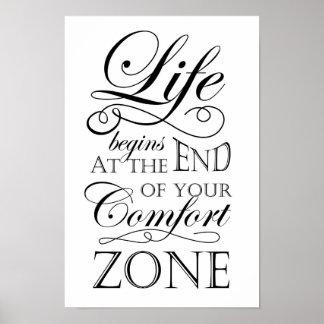 La vie commence à la fin de votre citation de zone posters