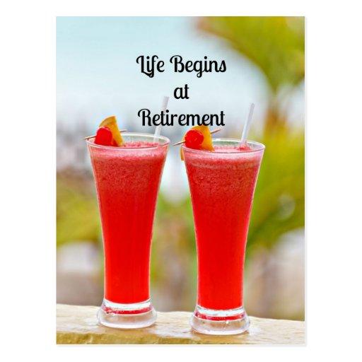 La vie commence à la retraite - boissons tropicale cartes postales