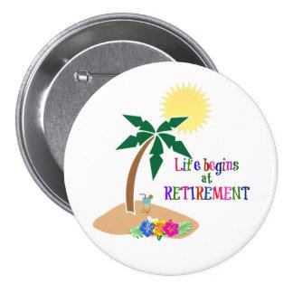 La vie commence à la retraite, plage tropicale badges