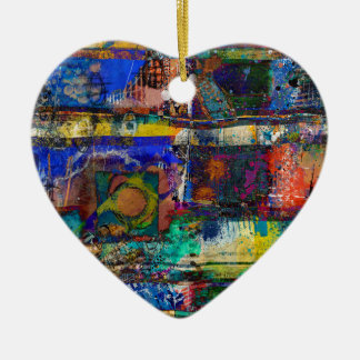 La vie dans polychrome ornement cœur en céramique