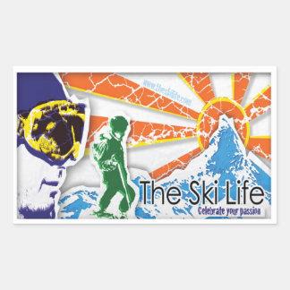 La vie de ski - célébrez votre passion sticker rectangulaire