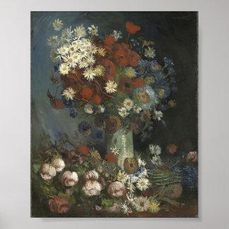 La vie de Van Gogh- Still avec des fleurs et des r Posters