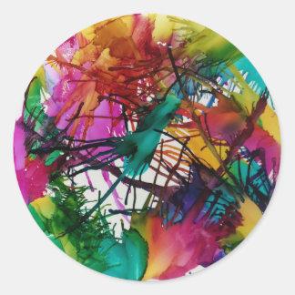 La vie en couleurs sticker rond