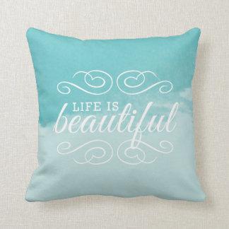 La vie est art bleu turquoise d'aquarelle de beau oreillers
