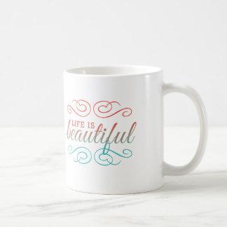 La vie est beau rouge et Ombre turquoise inspirent Mug