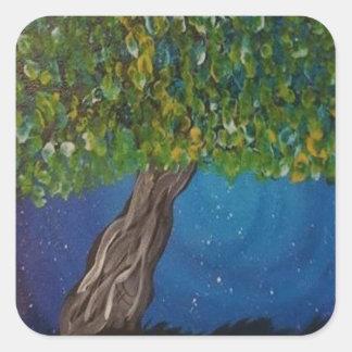 la vie, est la terre, et des arbres sticker carré
