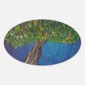 la vie, est la terre, et des arbres sticker ovale