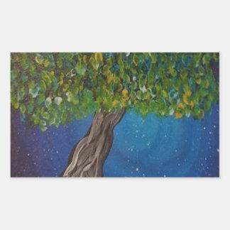 la vie, est la terre, et des arbres sticker rectangulaire