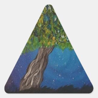 la vie, est la terre, et des arbres sticker triangulaire
