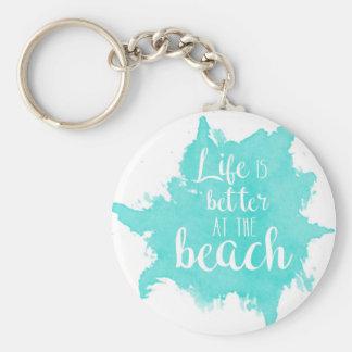 La vie est meilleure à la plage porte-clé rond