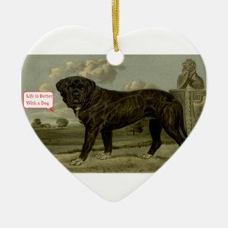 La vie est meilleure avec un chien ornement cœur en céramique