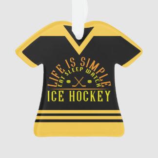 La vie est ornement simple de vacances de hockey