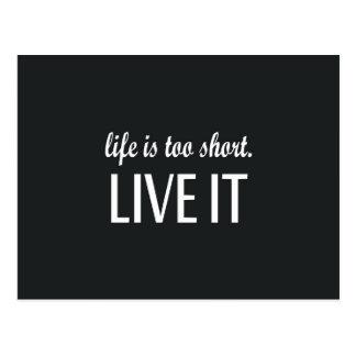 """La """"vie est trop courte. Vivent elle"""" citation Carte Postale"""