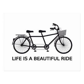 La vie est un beau tour, bicyclette tandem carte postale