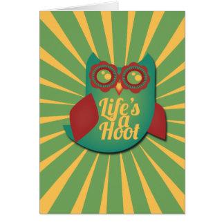 La vie est un hibou de huée carte de vœux
