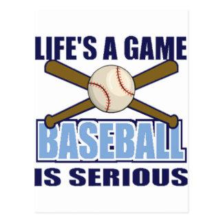 La vie est un jeu, base-ball est sérieuse carte postale