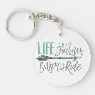 La vie est un voyage apprécient l'envie de voyager porte-clé rond en acrylique une face