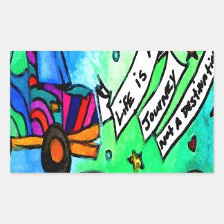 La vie est un voyage pas une destination sticker rectangulaire