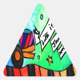 La vie est un voyage pas une destination sticker triangulaire