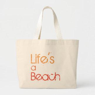 La vie est une plage Fourre-tout de toile de plage Grand Tote Bag