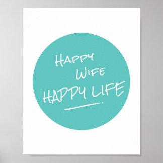 La vie heureuse d'épouse heureuse indiquant la posters
