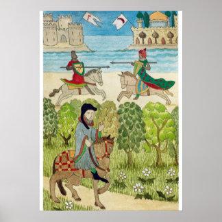 La vie médiévale dans des pèlerins de l'Angleterre Posters
