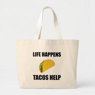 La vie se produit aide de tacos grand tote bag