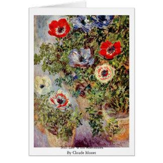 La vie toujours avec des anémones par Claude Monet Carte De Vœux
