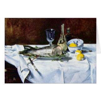 La vie toujours avec le saumon par Edouard Manet Carte De Vœux