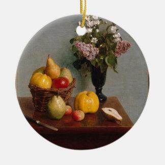 La vie toujours avec les fleurs et le fruit ornement rond en céramique