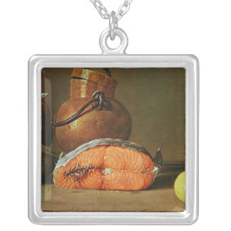 La vie toujours avec un morceau de saumon pendentif carré