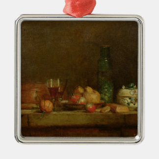 La vie toujours avec une bouteille d'olives, 1760 ornement carré argenté