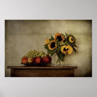 La vie toujours, tournesols dans le vase, fruit poster