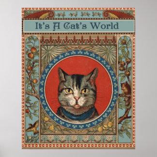 La vie vintage du chat pour des amants de Kitty Posters