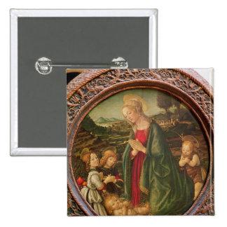 La Vierge adorant l'enfant du Christ Badge Carré 5 Cm