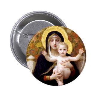La Vierge du Lillies Badge Rond 5 Cm