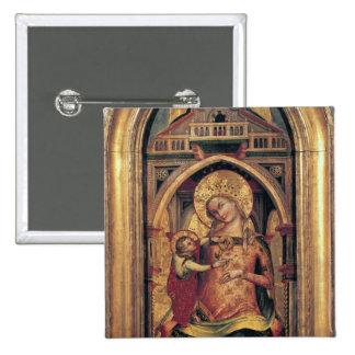 La Vierge et l'enfant, 1372 Badge Carré 5 Cm