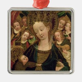 La Vierge et l'enfant avec des anges Ornement Carré Argenté