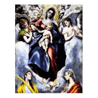 La Vierge et l'enfant avec la carte postale de St