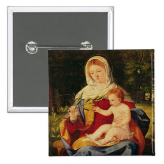 La Vierge et l'enfant avec une pousse d'olive Badge Avec Épingle