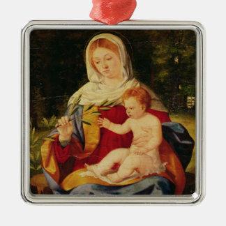 La Vierge et l'enfant avec une pousse d'olive Ornement Carré Argenté