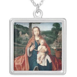 La Vierge et l'enfant dans un paysage Pendentif Carré